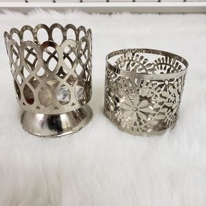 "Bath and Body Works silver 3"" candle holders"